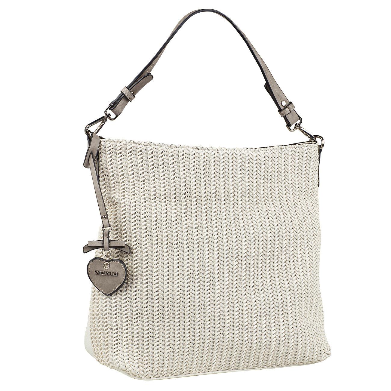 2e10c163e83 Emily & Noah gevlochten shopper - Trendy witte gevlochten tas in  shoppermodel, voor een verrassend