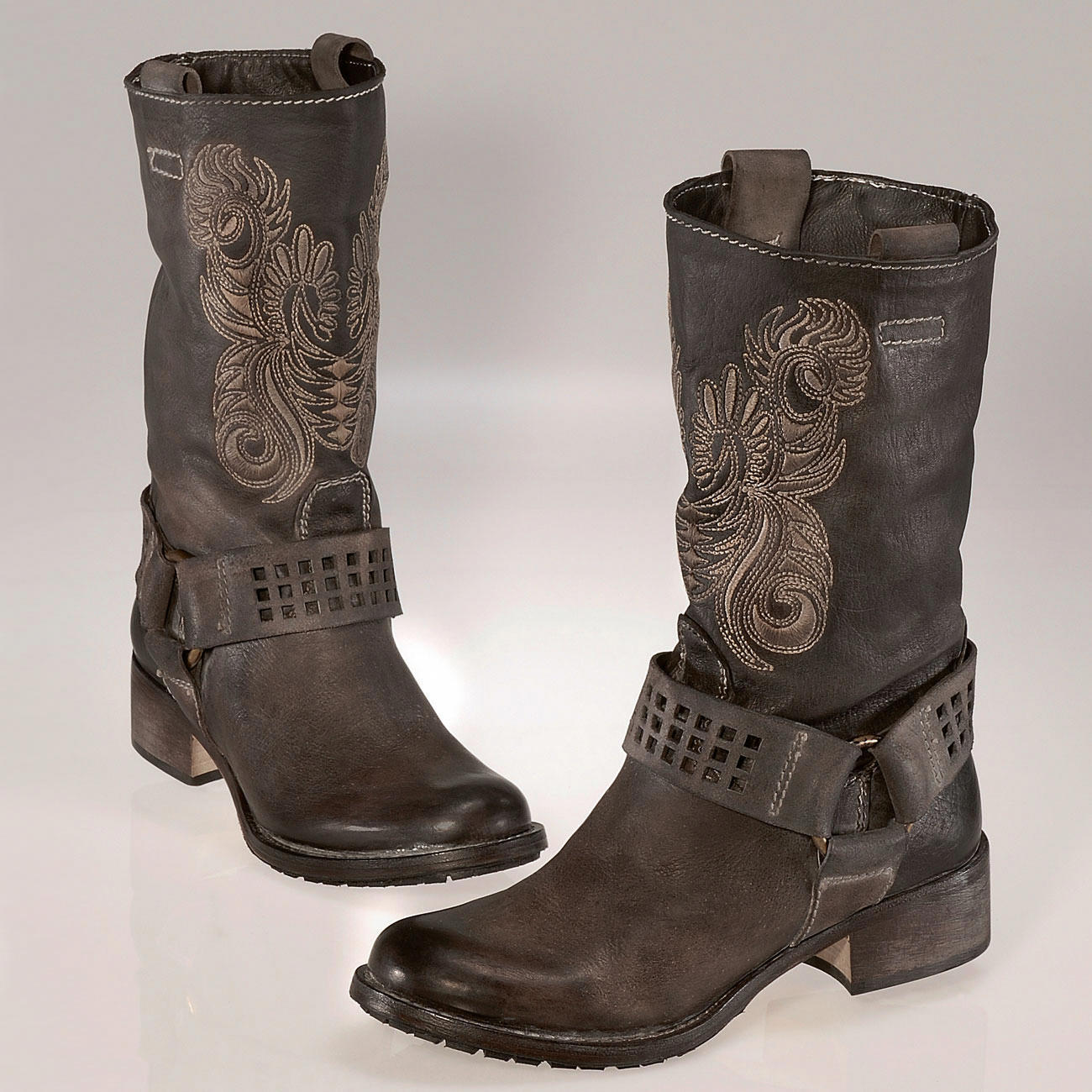 biker boots met borduurse 3 jaar productgarantie pro idee. Black Bedroom Furniture Sets. Home Design Ideas