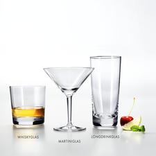 Whiskyglas, martiniglas en longdrinkglas.