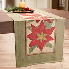 Tafelloper 'Kerstster' - Een tafelloper als een schilderij. Unieke weefmethode, met innovatieve 3-kleurige pixeltechniek.