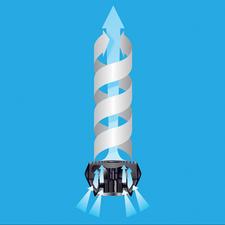 Door spleten wordt de lucht achteraan aangezogen en als gebundelde wervellucht vooraan de ruimte ingeblazen.