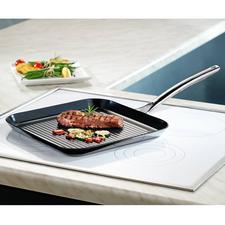Grillpan Vulcano Ceramic - Krasbestendig gecoat, maar kan ook tegen temperaturen tot 400 °C en is geschikt voor inductie.