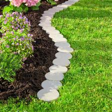 Vario-stenen voor de gazonrand, 12-delige set - Eenvoudig voor de gazonrand. Gepatenteerd steeksysteem. Van duurzame kunststof met 30% houtaandeel.
