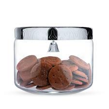 Alessi koekjestrommel - Glazen pot met edelstalen deksel. Koekjes blijven vers. En dank belletje veilig voor snoepers.