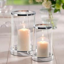 Verzilverd windlicht incl. kaars - Schitterend kristalglas. Klassieke cilindervorm. Sokkel en rand chic verzilverd.