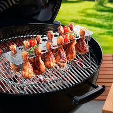 Chicken Leg Roaster, 2-delig - Perfect gegrilde kippenbouten: zonder moeizaam keren. Zonder plakken.
