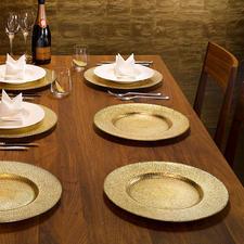 Feestelijk glazen onderbord, set van 6 - Dek een feestelijke tafel in een handomdraai. Met een verfijnde goud- en zilverglans onder glas.