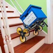 Het slimme systeem met drie wielen per kant biedt ideale ondersteuning, voor moeiteloos naar boven en beneden transporteren over de trap.