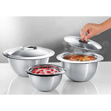 Edelstalen thermo-kommen met deksel - Dubbelwandig edelstaal houdt uw gerechten langer warm of koud. Verbazend voordelig.