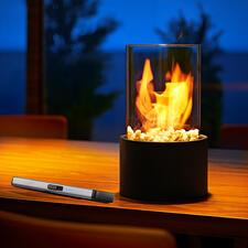 Deco-tafelhaard - Het fascinerende vlammenspel van echt vuur – veilig achter glas.