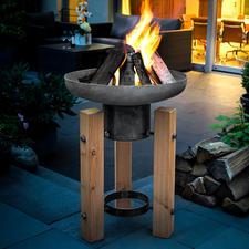 Vuur-/plantenschaal - Decoratieve plantenschaal in de zomer. Indrukwekkende vuurschaal in de herfst en de winter.