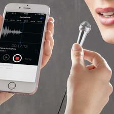 Smartphone-mini-microfoon - Met deze microfoon in de hand krijgt u direct het gevoel dat u een tv-presentator of beroemde zanger bent.