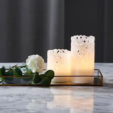 Led-kaars met reliëf, set van 2 - Sfeervol, indirect licht, ook perfect voor feestelijke gelegenheden.