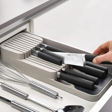 Compacte messen-organizer - Slim en praktisch: ruimtebesparende 2-voudige messenhouder voor in de lade.