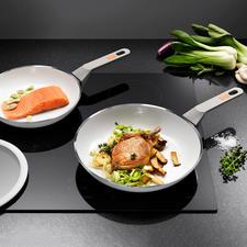 White Induction koekenpan of grote koekenpan - Hoogwaardige keramische pan. Krasbestendig. Hittebestendig tot 400 °C.