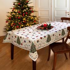 Nostalgische kersttafelkleden - Even vrolijk als in je kindertijd. Kleurrijk, maar niet té.