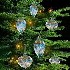 Iriserende glazen kerstboomversiering, 6-dlg. set - Kerstboomversiering gevuld met glasdraden en een glans in regenboogkleuren.