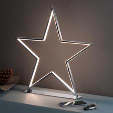 Schijnende ster - Cool deco-object dat niet kitscherig is: de chroomster met led-lichtcontouren.