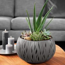 Bloempot 'Zandgolven' - Relatief licht en blijvend mooi. Van stevig, recyclebaar polypropeen.