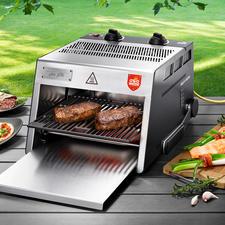 O.F.B. hogetemperatuurgrill inclusief snijplank - Nu nog beter: 800 °C-steakgrill met extra groot grilloppervlak. Voor binnen en buiten.
