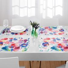 Tafelsets aquarel, set van 6 - Tafelsets met trendy bloemenmotieven. Blijvend mooi en stevig, een plezier voor elke dag.