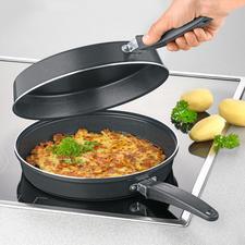 Dubbele pan - Omeletten en pannenkoeken – eenvoudig, veilig en zonder te knoeien bakken.