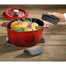 Meegeleverd: warmte-isolerende siliconehandvatten die u over de greep van de pan kunt schuiven.