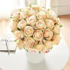 Boeket rozen - Geniet van onvergankelijke schoonheid. In een mooi kleurenspel van zachtgeel en roze.