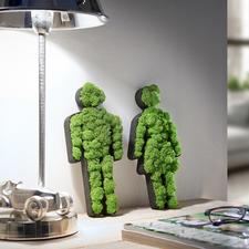 Pictogram vrouw/man van mos - Mooie decoratie voor in huis en om cadeau te geven. 100% natuur, 0% onderhoud.