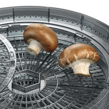Biedt ook plek aan grote etenswaren (bijv. hele paddenstoelen).