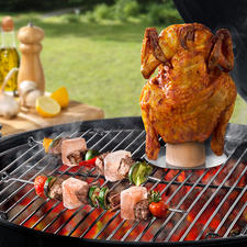 Zoutsteen-grillkegel en grillspiesen