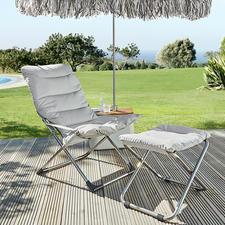 Fiamklapstoel of voetenkrukje - Schitterend Italiaans, inklapbaar design: de perfecte ligstoel voor op het terras, in de tuin of bij het zwembad.