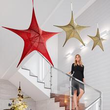 XXL-ster van stof - Heel expressief: elegante, met stof beklede glitterster in XXL-formaat.