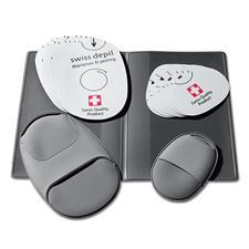 In het handige etui worden telkens 10 slijppads en de 2 handschoenen hygiënisch weggeborgen.