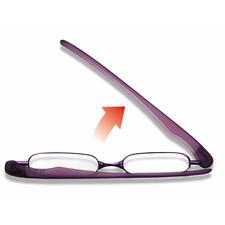 Nauwelijks meer dan een enkele handeling: gewoon beide brilpoten uitklappen, een brilpoot naar voren draaien en de glazen ontvouwen. Klaar.