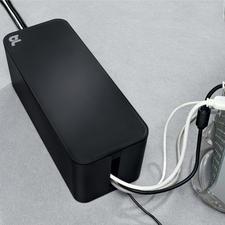 Alle kabels worden gebundeld uit de beide zijsleuven geleid. Als CableBox™ of CableBox™ compact voor aansluitstroken t/m een lengte van 38 cm (respectievelijk 20 cm).
