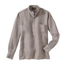 Nehru-overhemd van linnen - Hollingtons originele overhemd met staande kraag.