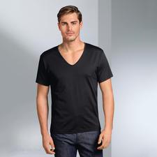 korte mouw, V-shirt, zwart