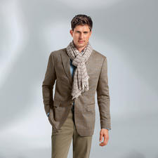 Di Pray zijden colbert in visgraatdessin, bruin - Ideaal in de zomer: het jasje van zuivere zijde. De decente kleurstelling past bij elke egale tint.
