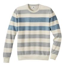 Stereo-System®-trui met strepen - De fijne gestreepte merinotrui, die niet kriebelt. Het Stereo-System®-breisel met katoenen binnenkant.