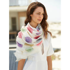 Ancini gestippelde sjaal 'Aquarel' - 6 artistieke aquareltinten. Royaal formaat. Onkwetsbare kwaliteit. Stijlvolle, goed te combineren zomersjaal.
