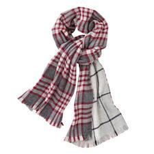 Johnstons geruite doubleface-sjaal, rood/grijs - Eén luxueuze doubleface-sjaal. Twee klassieke dessins. Van Johnstons of Elgin, Schotland, traditie sinds 1797.