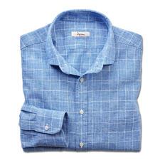 Ingram zakelijk overhemd in linnenmix - Een mooi combinatiemodel voor kantoor en vrije tijd: overhemd met klassiek glencheck-dessin.
