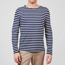 Shirt met lange mouwen, marine/ecru