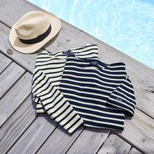 Shirt met lange mouwen, ecru/marine en T-Shirt, marine/ecru