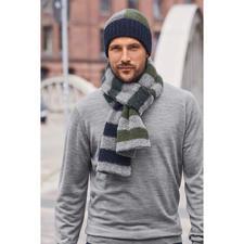 Howlin' driekleurige gebreide muts - Colourblocking-muts en gestreepte sjaal van het jonge Belgische merk Howlin'.