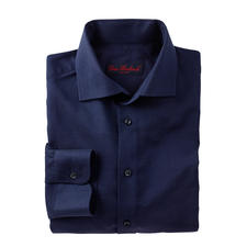 Wollen business-overhemd - Heerlijk warm voor de winter. Verzorgd voor kantoor. Fijne stof in gedekt blauw, met stijlvolle ruiten.