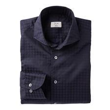 Dufour modern overhemd met pied-de-poulemotief - Modieus groot dessin, zonder te opvallend te zijn. Een stijlvolle interpretatie van het trendy XL-motief.