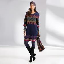 Ivko jurk, tulband, armwarmers of sjaal in jacquardbreisel - Een zeldzaamheid uit Servië: jacquardbreisel in vele kleuren en motieven.