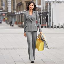 Barbara Schwarzer kostuumblazer of -broek - Chique wol-look. Couturestijl. Modern dessin. Materiaal dat elke dag gedragen kan worden.